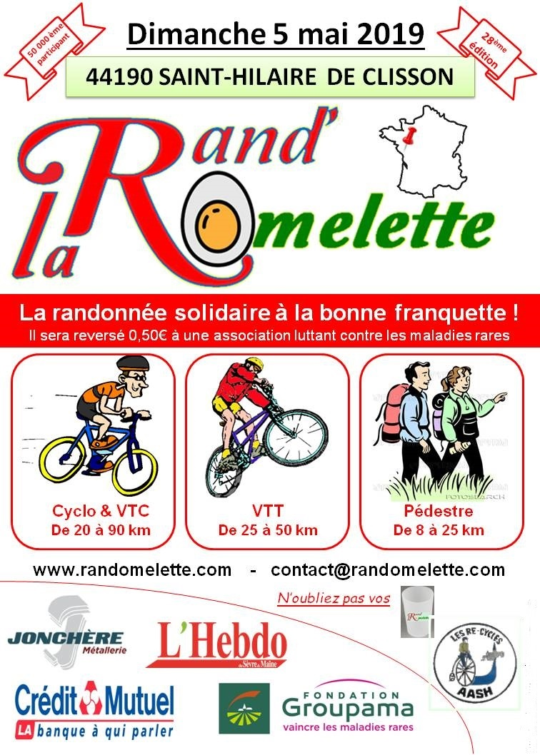 [:fr]LA RAND'OMELETTE 2019 : BALLADES ET COURSES SOLIDAIRES[:en]RAND'OMELETTE 2019 : UNITED WALKS AND RIDES[:] @ ST HILAIRE DE CLISSON
